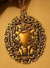 Stunning Swirled Rim Crowned Angels Crest Shield Antiqued Gold Pendant Necklace
