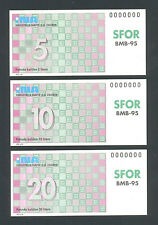 CROATIA  BOSNIA   5,10 & 20 Liters ND(1996) UNC- SFOR-NATO Set of 3 Oil Cupons