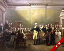 GEORGE WASHINGTON RESIGNS FROM HIS COMISSION OIL PAINTING ART REAL CANVAS PRINT
