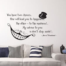 Alice in Wonderland Quote Wall Vinyl Decals Cheshire Cat Bedroom Nursery FD115