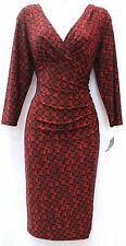 Ralph Lauren v neck empire waist stretch sheath wine geometric dress sz 10
