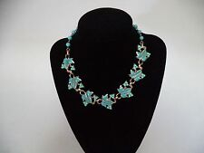 VINTAGE CORO SIGNED TURQUOISE ENAMEL GOLD TONE NECKLACE