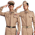 WW2 Army Costumes Mens 1940s Military Uniform Adults GI Armed Forces Fancy Dress