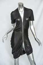 ALEXANDER MCQUEEN Womens Blue Ruched Asymmetrical-Hem Draped Zipper Dress M