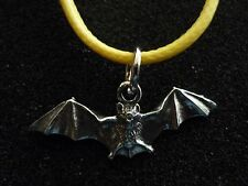 """Country Life Bat w2 Fine English Pewter On a 18"""" Yellow Cord Necklace codew1"""