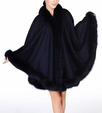 NAVY BLUE FOX FULL SKIN TRIMMED 100% CASHMERE SWING CAPE WRAP COAT NEW W TAGS