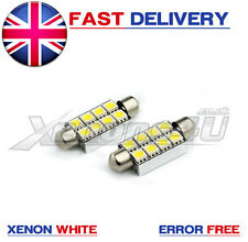 2x 42mm 8 SMD 5050 LED White Canbus Interior Light C5W Festoon Dome Bulbs