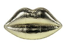 Genuine Lulu Guinness Padded Lips Signature Clutch Snakeskin Gold Metallic £325