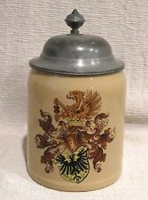 Mettlach Lidded Stein 1/2 L # 1526 with Griffin and German Coat of Arms