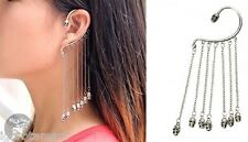 2X Gothic Punk Skull Ear Cuff Chain Tassels Dangle Clip Earring NO PIERCING