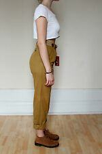 VTG 90s Grunge Ochre Tapered High Waisted Pleated Mom Jeans Trousers UK 10 EU 38