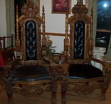 Pair Lions Head Queen and King Throne Wedding Marriage Chairs Finish Wood Nice