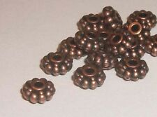 Antique copper pewter 6x3mm rondelles flower spacer beads - 100 pc (1835)