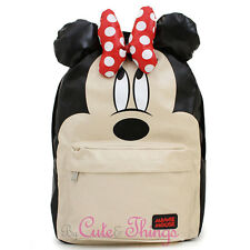 "Disney Minnie Mouse School Backpack with 3D Bow Ears 16"" Large Loungefly Bag"