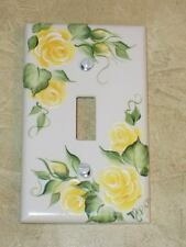 HaND PaiNTeD YELLOW Rose SWITCH PLATE COVER hp Roses*