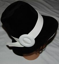 Vtg Lilly Dache Dachettes Cloche Bucket Hat Black Velvet White Leather France