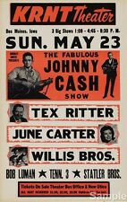 JOHNNY Cash Show June CARTER Tex Ritter VINTAGE MUSIC CONCERTO POSTER a4 RISTAMPA