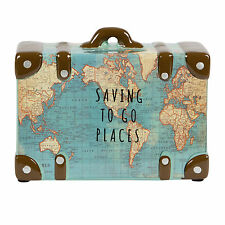SAVING TO GO PLACES VINTAGE MAP MONEY BOX SUITCASE POT BLUE ATLAS  SASS & BELLE