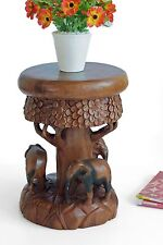 Elephant forest plant lamp stand side end table stool hand carved Acacia wood