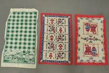 3 Vintage Cotton Printed Whimsical German Style Dish Towels * Perfect to Frame!