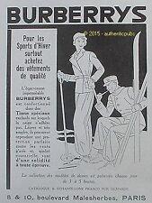 PUBLICITE BURBERRYS SPORT D'HIVER SKI VETEMENTS DE 1932 FRENCH AD PUB ART DECO