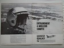2/1965 PUB HAWKER SIDDELEY FOLLAND GNAT TRAINER HELMET CASQUE ORIGINAL FRENCH AD