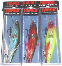 Rapala CNM-7 Clackin Minnow Crankbait (Lot of 3-Moss/Red Cr/Clown-Hard to Find)