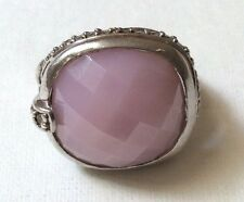 Massive Sterling Silver with Faceted Pink Quartz & CZ`s Ring
