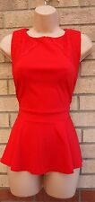 DOROTHY PERKINS RED LACE SIDES PEPLUM  BLOUSE TOP T SHIRT TUNIC CAMI VEST 14 L