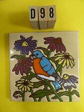 "Ceramic Art Tile 6""x6"" BLUE BIRD in the flowers hand painted trivet wall D98"