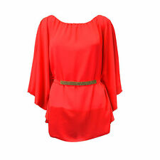 Womens Elegant Waist Band & Shoulder Diamante Trim Top Chiffon Batwing Blouse