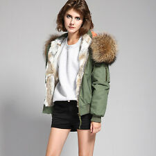 Women's Real Raccoon Fur Collar Real Rabbit Fur Lined Hooded Jacket Bomber Coat