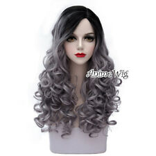 Lolita Style 60CM Long Black Mixed Gray Curly Cosplay Heat Resistant Full Wig