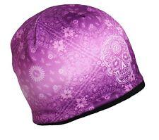 Ladies SUGAR SKULL Beanie Knit Cap Motorcycle Womens Paisley Hat Biker Purple