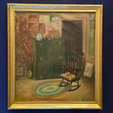 1927 INTERIOR REYNOLDS ANTIQUE OLD  OIL PAINTING LISTED