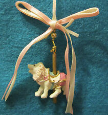 """1-1/2"""" Victorian Lion on a Gold Carousel Pole Ornament in Pink with Ribbon"""