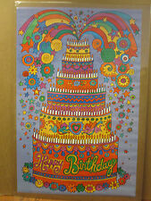 Vintage Happy Birthday original celebration cake poster 9977