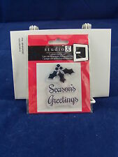 NEW STUDIO G CLEAR STAMP SET SEASONS GREETINGS HOLLY CHRISTMAS HOLIDAY VC0049