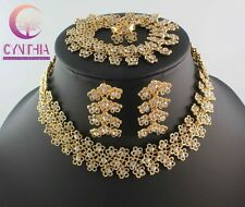 African Jewelry Set Gold Plated Bracelet Earring Ring Wedding Jewelry Sets