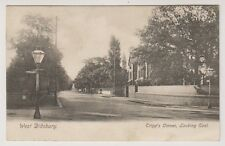 Lancashire postcard - West Didsbury, Tripps Corner, Looking East -Advert on back