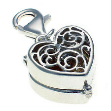 Sterling 925 Solid British Silver Clip On Charm, Solitaire Ring Opening Case