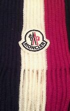 MONCLER WOOL KNIT NECK SCARF WRAP BLUE RED WHITE & BLACK   FRENCH SKI JACKET