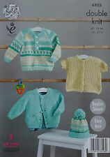 Knitting pattern BABY facile Maglione, Cardigan, Giacca e Cappello KING COLE DK 4805