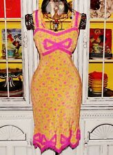 Betsey Johnson VINTAGE Dress FETISH MAGAZINE NOVELTY PRINT Pink Lace BOW 4 S