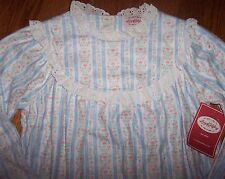NWT Lanz of Salzburg Soft Blue HEARTS Tyrolean Flannel Nightgown LACE S/6 Girls