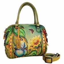 Anuschka Floral Dreams Zip Top Medium Satchel, Genuine Leather 526-FLD