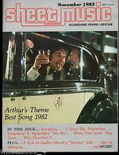 Sheet Music Magazine November 1983 Standard Piano / Guitar Arthur's Theme 1982