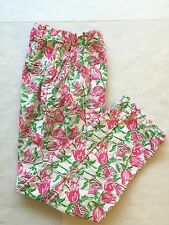 Vtg Lilly Pulitzer wmns sz 6 Pink Green Wht Tulips high waist pleatd pants   EUC