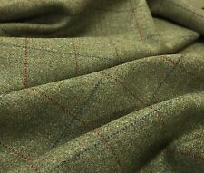 All Wool Jacketing 2.5mts Forrest Green With Royal Blue/Red Check