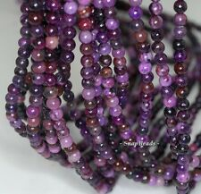 4MM  PURPLE SUGILITE GEMSTONE ROUND 4MM LOOSE BEADS 15.5""